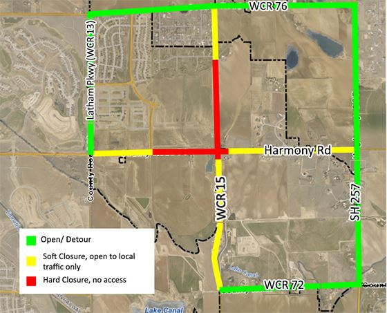 Harmony Road & WCR15 Detour Map