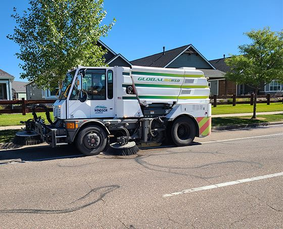 street sweeper on road