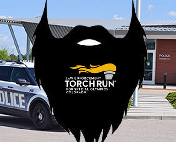 The No Shave logo shown on an image of the police building.
